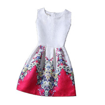 NEW Women Red Roses White Vintage Mini Sleeveless Spring Flare Dress, Size 4 - $21.78