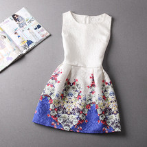 NEW Women Blue Floral White Vintage Mini Sleeveless Spring Flare Dress, Size 6 - $21.78