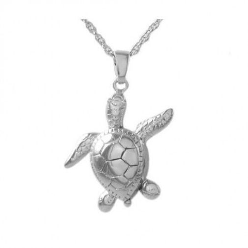 Sterling Silver Turtle Pendant/Necklace Funeral Cremation Urn for Ashes