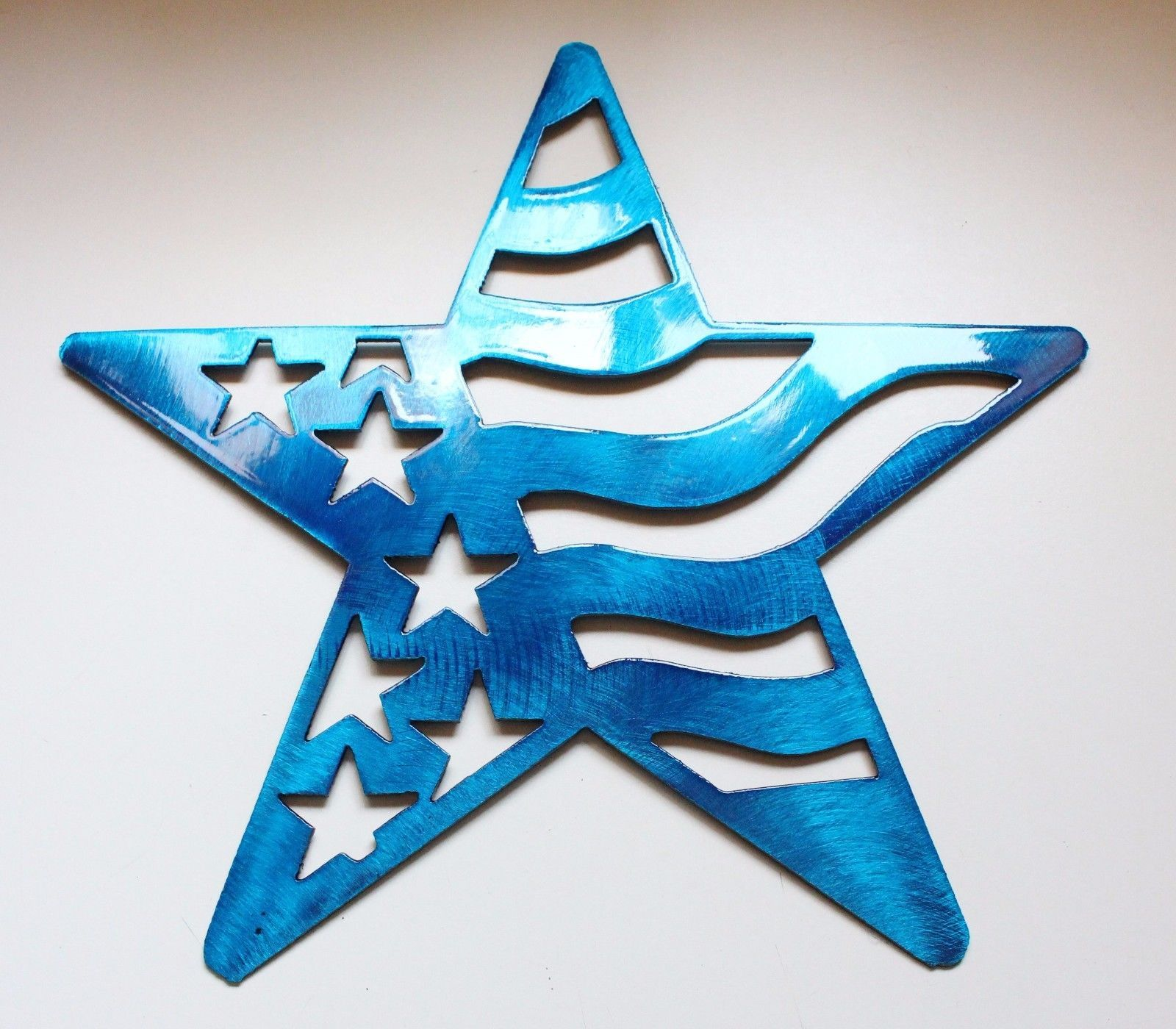 Stars and Stripes Barn Star Metal Wall Art Decor/Wall Hanging Blue 7""