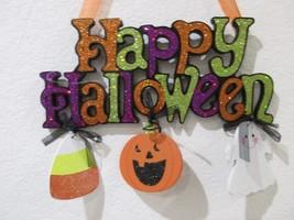 Halloween HAPPY HALLOWEEN Pumpkin Glitter Hanging Wall Sign Door Plaque ... - $16.99