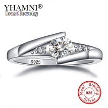 YHAMNI Fine Jewelry 100% Natural Pure 925 Silver Ring Top 0.5 Carat CZ Z... - $14.83