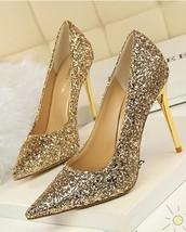 Vintage 80s Women's Golden Sequins Shoes/Pointed-Toe Golden Sparkling Pumps image 2