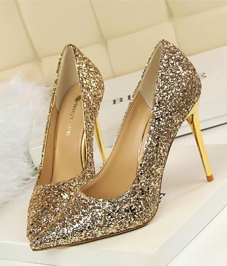 Vintage 80s Women's Golden Sequins Shoes/Pointed-Toe Golden Sparkling Pumps