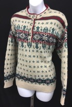 Vtg L.L. Bean Icelandic Fair Isle Nordic Wool Pull Over Women's Sweater ... - $26.10