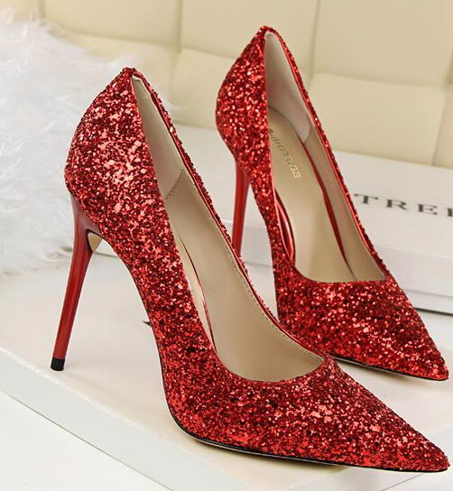 Red Women's sequins Pumps Shoes/Ladies Sequin Sparkling Pumps/Wedding High Heels