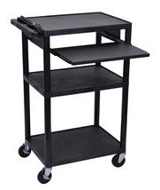 Luxor LP42LE-B Black Endura 3 Shelf Presentation Cart with Pull Out Shelf - $107.15