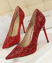 Black Women's sequins Pump Shoes/Ladies Sequin Sparkling Pump/Wedding High Heels image 2