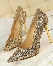 Black Women's sequins Pump Shoes/Ladies Sequin Sparkling Pump/Wedding High Heels image 5