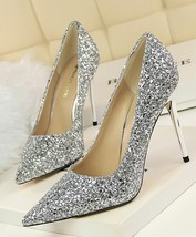 Black Women's sequins Pump Shoes/Ladies Sequin Sparkling Pump/Wedding High Heels image 7