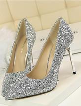 Black Women's sequins Pump Shoes/Ladies Sequin Sparkling Pump/Wedding High Heels image 8