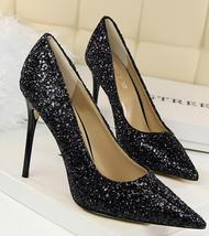 Black Women's sequins Pump Shoes/Ladies Sequin Sparkling Pump/Wedding Hi... - $38.00