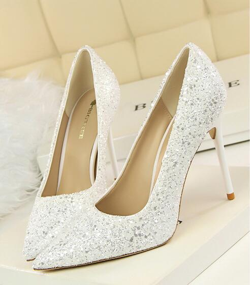 Primary image for White Women's sequins wedding party shoes/White Bridals Pump Heels Shoes