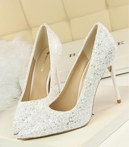 White Women's sequins wedding party shoes/White Bridals Pump Heels Shoes - $38.00
