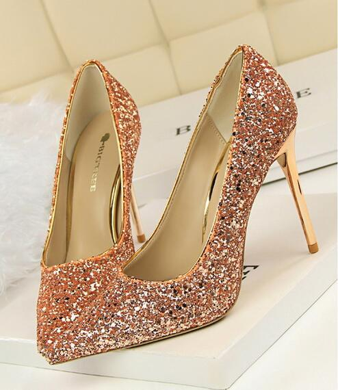 Sequin Champagne Wedding Party Shoes/Sequin Champagne Gold Bridal Heels Pumps
