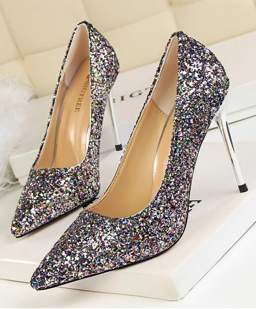 Sequin Champagne Wedding Party Shoes/Sequin Champagne Gold Bridal Heels Pumps image 3