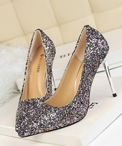 Sequin Champagne Wedding Party Shoes/Sequin Champagne Gold Bridal Heels Pumps image 4