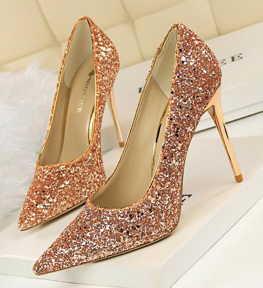 Sequin Champagne Wedding Party Shoes/Sequin Champagne Gold Bridal Heels Pumps image 5