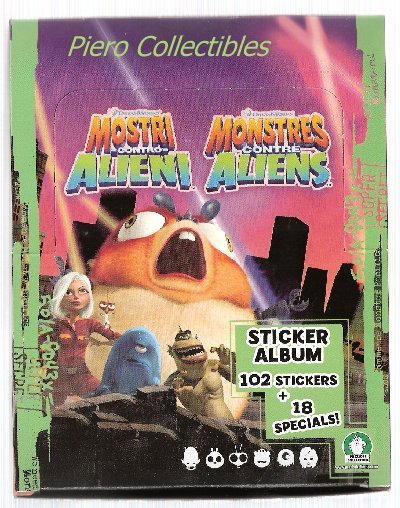 Monsters vs Aliens Box 30 Packs Stickers Preziosi