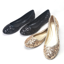 Black Women's sequins Flats Shoes/Ladies Sequin Golden Sparkling Ballet Flats - $38.00