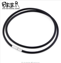 Leather cord necklace pendant wire stainless steel screw locking Korea P... - £5.47 GBP