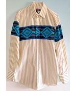 VTG KARMAN Striped Mens Long Sleeve M  Shirt Southwestern Western Snaps ... - £24.84 GBP