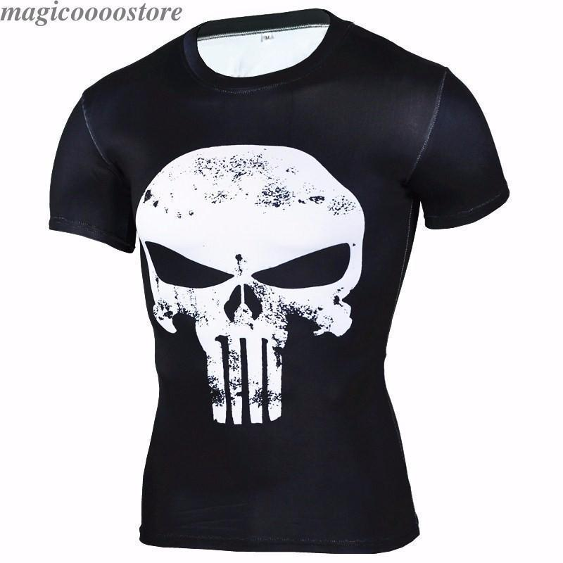 Marvel Superhero Punisher Compression T-shirt Male Tight Gym Sports Fitness Tops