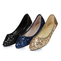 Royalblue Women's sequins Shoes/Ladies Sequin Golden Sparkling Ballet Flats - $38.00
