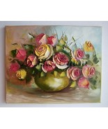 Pink Yellow Roses Original Oil Painting 3D Flowers Bouquet Impasto Wedding Gift - $240.00