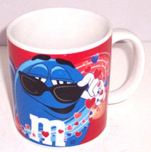 M&M's Coffee Mug M&M Candy Blue Guy Valentine Red Hearts Galerie  - $34.95