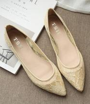 Lace Wedding Shoes/ Lace Flat Shoes/Ivory Flats Shoes/Ivory Lace Flats S... - $38.00