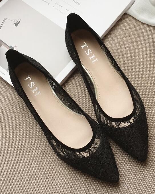 Black Lace Wedding Shoes,Black Wedding Shoes for Bridal,Black lace flats shoes