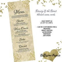 Beauty & the Beast themed Menu Cards - Half A4 sheet - Personalized - We... - $0.72+