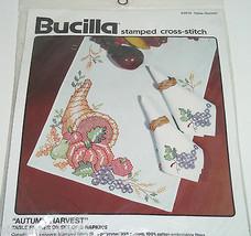 Bucilla Stamped Cross Stitch Kit Autumn Harvest Table Runner 82870 Vinta... - $59.95