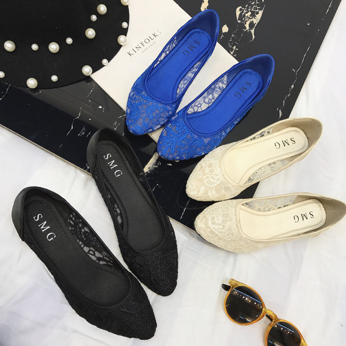 Blue Lace Wedding Shoes/ Royalblue Lace Flat Shoes/ Dark Blue Lace Flats Shoes image 2