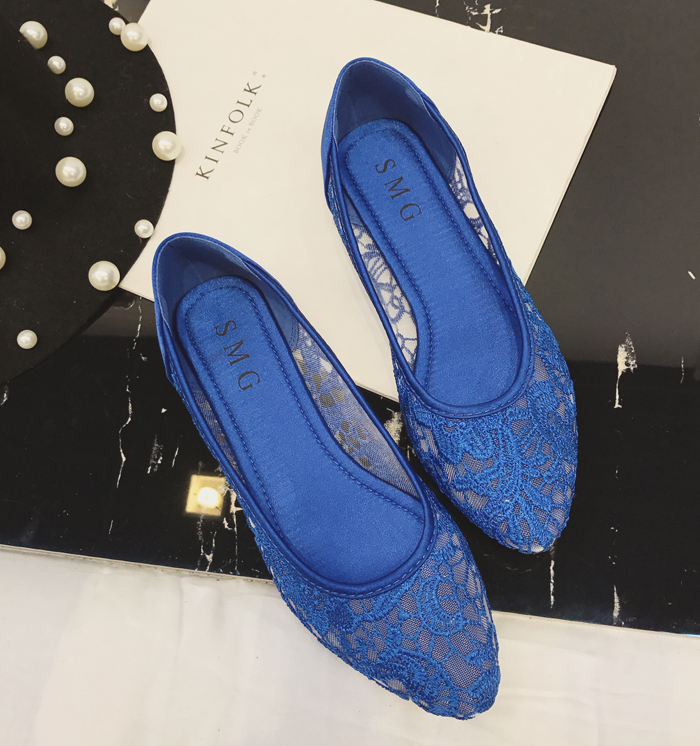 Blue Lace Wedding Shoes/ Royalblue Lace Flat Shoes/ Dark Blue Lace Flats Shoes image 3