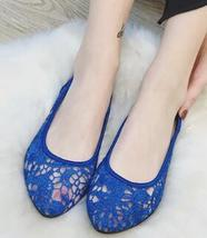 Blue Lace Wedding Shoes/ Royalblue Lace Flat Shoes/ Dark Blue Lace Flats... - $38.00