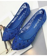 Blue Wedding Shoes/ Lace Bridal Shoes/Champagne Shoes/Royalblue Lace Fla... - $38.00