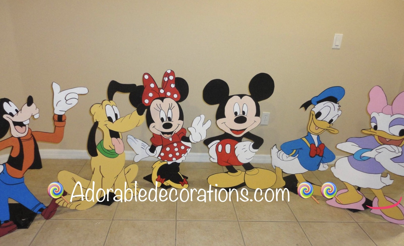 Mickey Club House 3 feet  Wood Standees Birthday. Photo Props Standees - One Cha