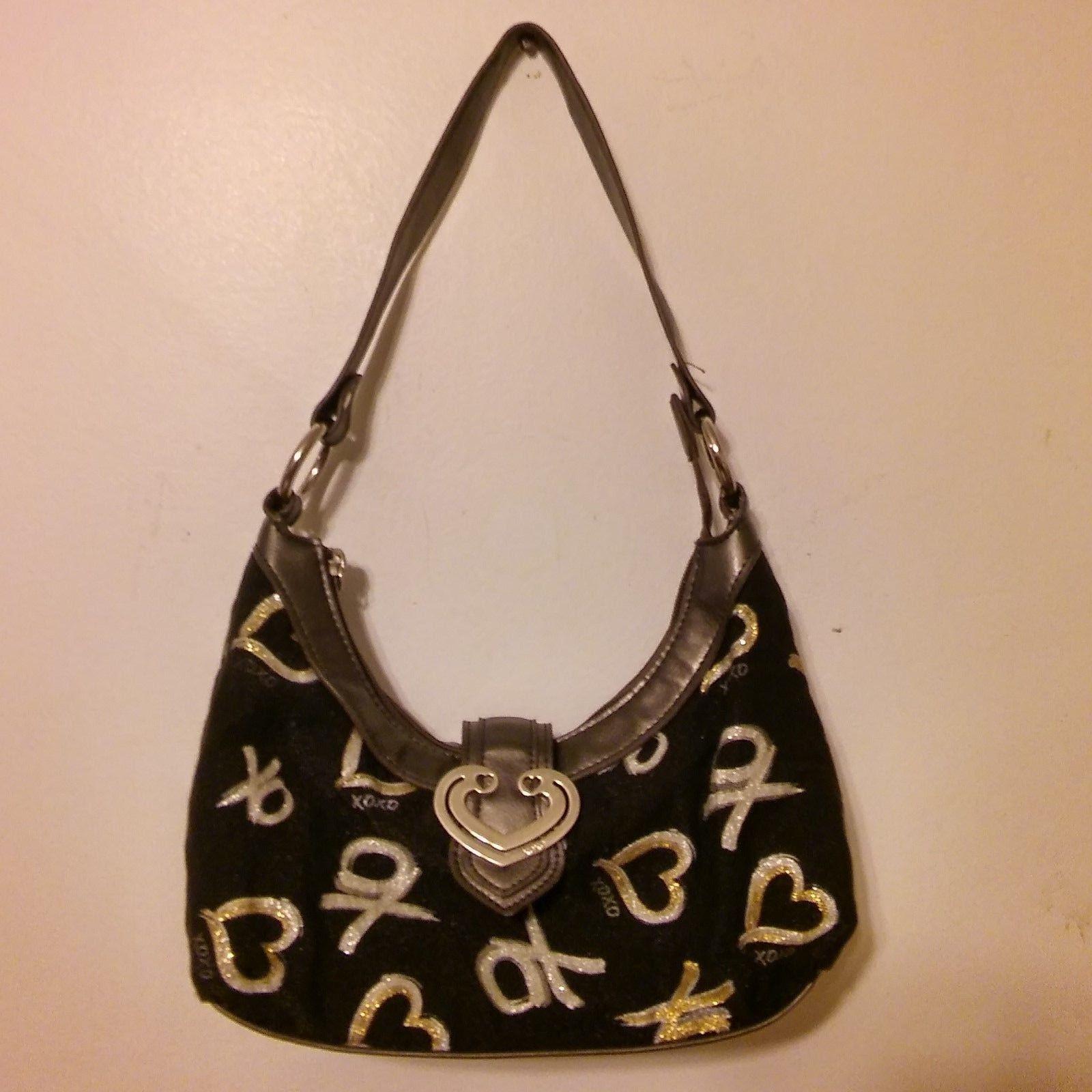 Xoxo Purse Handbag Black With Gold Silver Xo Hearts