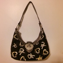 XOXO Purse/Handbag Black with Gold/Silver XO & Hearts - $18.99