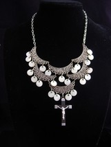 Rosary Necklace / gypsy choker / chandelier mother of pearl / bib necklace  - $165.00