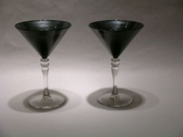 CharleyWare Hand Painted Black & Silver Martini Glasses Set of 2 - $59.95