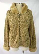 LIZ CLAIBORNE Oatmeal Wool Knit Faux Fur Hooded Zip Cardigan Sweater Jacket M - $29.69