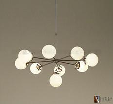Modern Brass Globe Chandelier Lighting Fixture, 9 Clear Glass Globes Cha... - £293.75 GBP