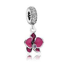 Sterling Silver 925 Orchid Pendant Charm, Suitable fit Pandora Bracelet ... - $12.99