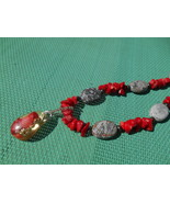 Orgone Energy Necklace with coral and jasper - $25.00