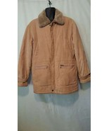 Mens Vintage Montgomery Ward Corduroy Winter Coat W/Fur Size L Large - $25.74