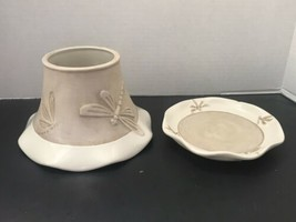 Yankee Candle Dragonfly Stoneware Candle Topper and Plate set - $33.73