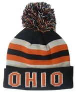 Ohio Men's Striped Winter Knit Cuffed Pom Beanie Toboggan Hat Black/Red - $11.95